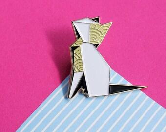Origami Cat, enamel pin - 'Origaminals' - paper art - origami art - origami pin - cat gift - cat pin - pin badge - flair - lapel pin