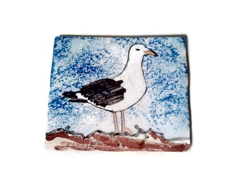 Seagull tile. Ceramic tile, handmade and hand painted. Unique decorative Portuguese clay tile. Coaster tile, wall art, back splash tile.