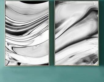 Black and White Abstract Print Set -- Set of 2 prints 8x10 black white abstract wall art 11x14 grey living room gray hallway decor 16x20