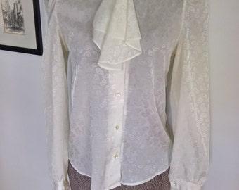 Vintage Puffy Shirt Fancy Ascot Neck Tie Blouse --- Retro Pirate Femme Fatale Style --- Elegant Women's Cristina's Fashion -- Prince Costume