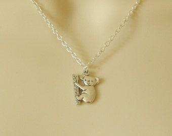 Koala Bear Necklace, Koala Bear Charm Pendant, Silver Koala Bear Charm, Charm Necklace, Silver Charm Pendant,