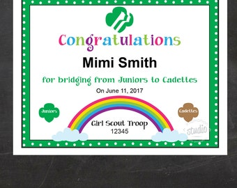 Girl Scout Bridging Certificate - Juniors to Cadettes {Instant Download}, Girl Scout Printable, Girl Scout Leader, Fillable PDF