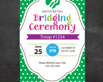 Girl Scout Bridging Invite -  {Instant Download}, Girl Scout Printable, Girl Scout Leader, Fillable PDF