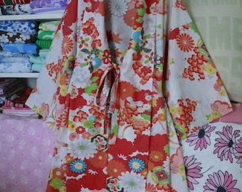 Kimono Robe Upcycled Clothing Vintage Sheet Wamsutta Ultracale Womens Plus Size Oriental Floral Colorful Print Unique Gift Idea Asian Fusion