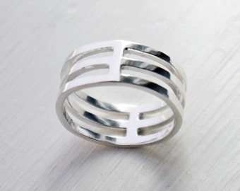 Geometric ring, Cage ring, Triple ring, Minimalist jewellery, Geometric jewellery, Architectural ring, Statement jewellery, Gift fo her