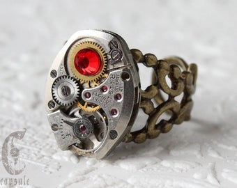 Steampunk Industrial Bronze Filigree Adjustable Ring with Vintage Silver Watch Movement and Red Swarovski Crystal