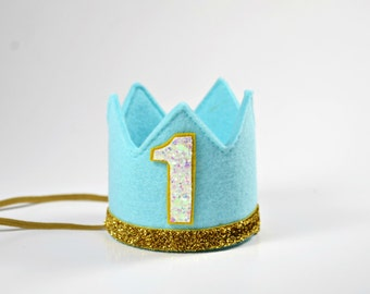 First Birthday Boy    Boy Birthday Crown    Boy Birthday Outfit   Boy Party Hat    Little Blue Olive    Aqua + Gold + White