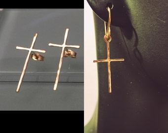 14k Gold Cross Earrings, 14k Cross Earrings, 14k Cross Stud Earrings, 14k Yellow Gold Cross Earrings, 14k Christian Earrings, 14k Earrings