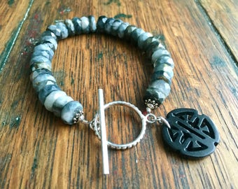 Black and Gray Jasper Gemstone Bracelet with Sterling Silver Toggle Clasp and Carved Asian Charm