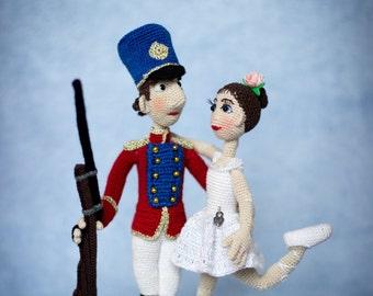 2-in-1 - Soldier & Ballerina - The Steadfast Tin Soldier (Hans Christian Andersen tale) - ToyMagic Сrochet Pattern [PDF instant download]