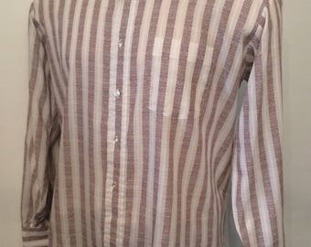 Vintage MENS 60s Mark VIII Tailored Shirts brown & white striped long sleeve shirt