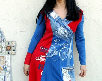 M Fantasy pop art printed denim recycled patchwork dress tunic hippie boho