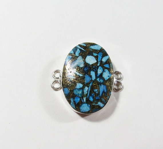 bright blue copper turquoise gemstone link