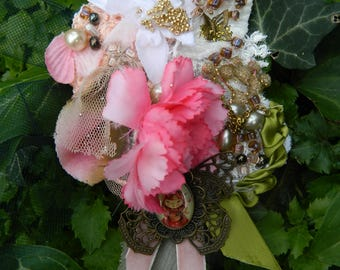 """Extravagant pin butterfly decorated and embroidered, embellished """"Red Riding Hood"""" and flowers"""