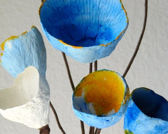 Yellow Blue Paper Flower Arrangement, Paper Flowers with stems Composition, Home Decoration, Modern Centerpieces, Wedding decor