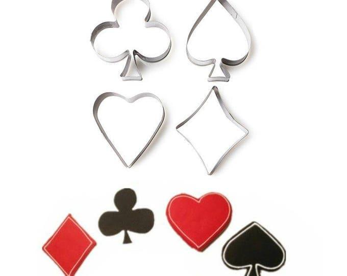 Poker 4 pc Cookie Cutter Set - C-1693 Sweet Love Wedding Mold Party Biscuit Fondant Sugar Cutter Heart Clover Club Spade Diamond Joker