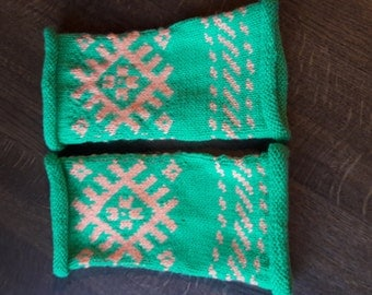 Hand knitted figerless mittens Ethnographic ornaments Fingerless Mittens Arm warmers