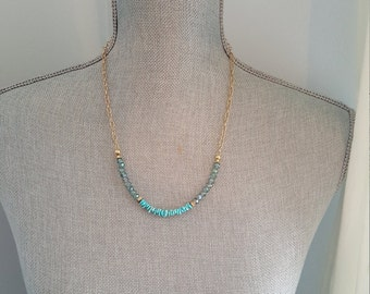 Semi precious turquoise chips and iridescent glass beaded necklace
