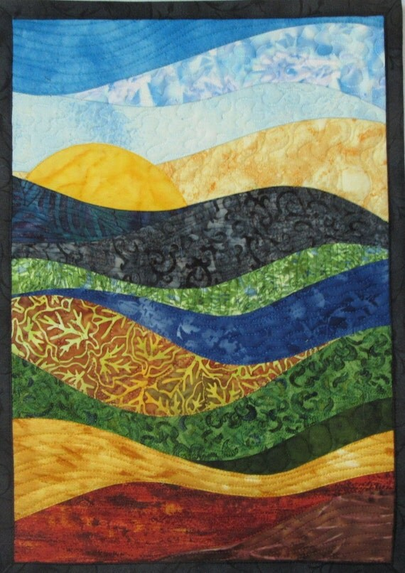 Art Quilt Abstract Landscape 9 small, Wall Hanging