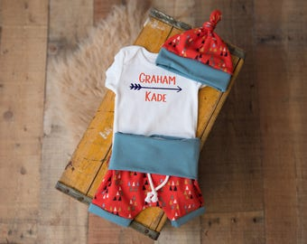 Baby Boy Coming Home Outfit, Baby Shower: Personalized Name Bodysuit, Triangles Fold-Over Waist Shorts or Jogger Legging Pants, Knot Hat