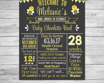 Bumble Bee Baby Shower Chalkboard Printable Sign - Baby Girl Baby Shower Sign, Pregnancy Poster, Baby Shower Decor, Bumble Bee