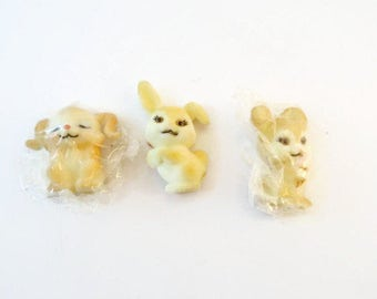 Vintage Set of 3 Easter Cuties Bunny Rabbits Flocked Figurines by Russ Easter Bunny Figures