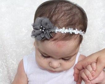 Grey Headband, Grey Flower Headband, Special occasion Headband, Glitter Headband, Baby Headband, Grey Baby Headband, Gray Headband,