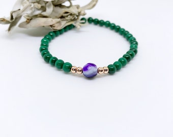 Malachite Mala Bracelet, Green Yoga Bracelet, Mala bead bracelet, Lotus Bracelet, Wrist Mala, Healing Mala bracelet, Yoga Gift for her, BMMA