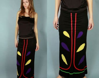 70's  Patchwork Maxi Skirt Hippie Bohemian Psychedelic Abstract Pattern 1970s Vintage Long Black Paisley Ladies Small