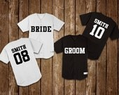 SET OF 2 Custom Baseball Jerseys | Bridal Party, Save the Date, Bride & Groom