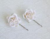 White Rose Hair Clips wedding hair accessories bridal hair clips white rose pins flower hair clips rose bobby pins flowergirl