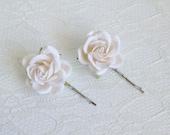 White Rose Hair Clips wedding hair accessories bridal hair clips white rose pins flower hair clips rose bobby pins flowergirl