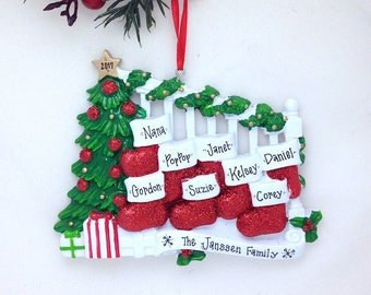 FREE SHIPPING 8 Stockings on a Bannister Christmas Ornament / Family of 8 Personalized Christmas Ornament / Large Family Ornament