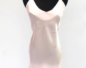 90's vintage baby pink silk open back slip mini dress XS Victoria's Secret
