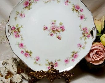 Antique circa 1900 - 1920, Hermann Ohme Silesia Cake/Cookie Plate with a Pink Rose Garland Motif