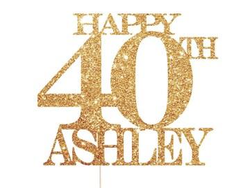 Happy 40th Birthday Cake Topper, 40th Birthday Props, 40th Cake Topper, 40th Birthday Decorations, 40th Birthday Party