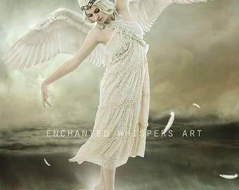 fantasy angel woman art print