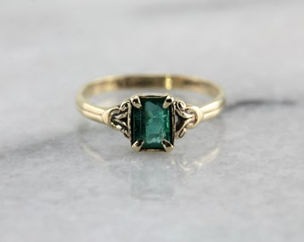 Dainty Emerald Solitaire, Child's Size Ring H6M3QN-P