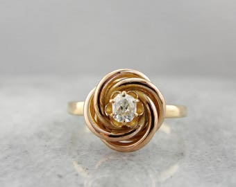 Antique Knot Ring with Old Mine Cut Diamond Center 0CK5Q1-P