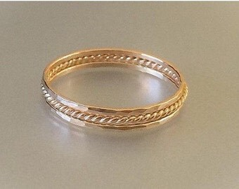 Stacking Ring Set, 14k Gold Filled Micro Skinny Rope Twist and Hammered Ring Set, 3 Dainty 14k Gold Filled Rings, Midi Ring, Stackab