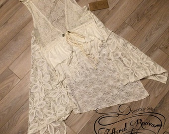 TATTERED REVIVAL Upcycled Lace Vest