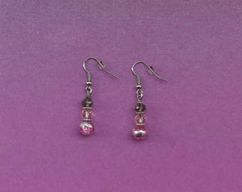 pink and silver earrings, pink drop earrings, pale pink earrings, pink hooked earrings, pink hook earrings, silver hook earrings
