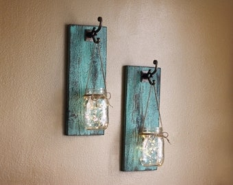 Rustic Wall Decor, Mason Jar Wall Sconces, Distressed Wood, Farmhouse Decor,  Shabby