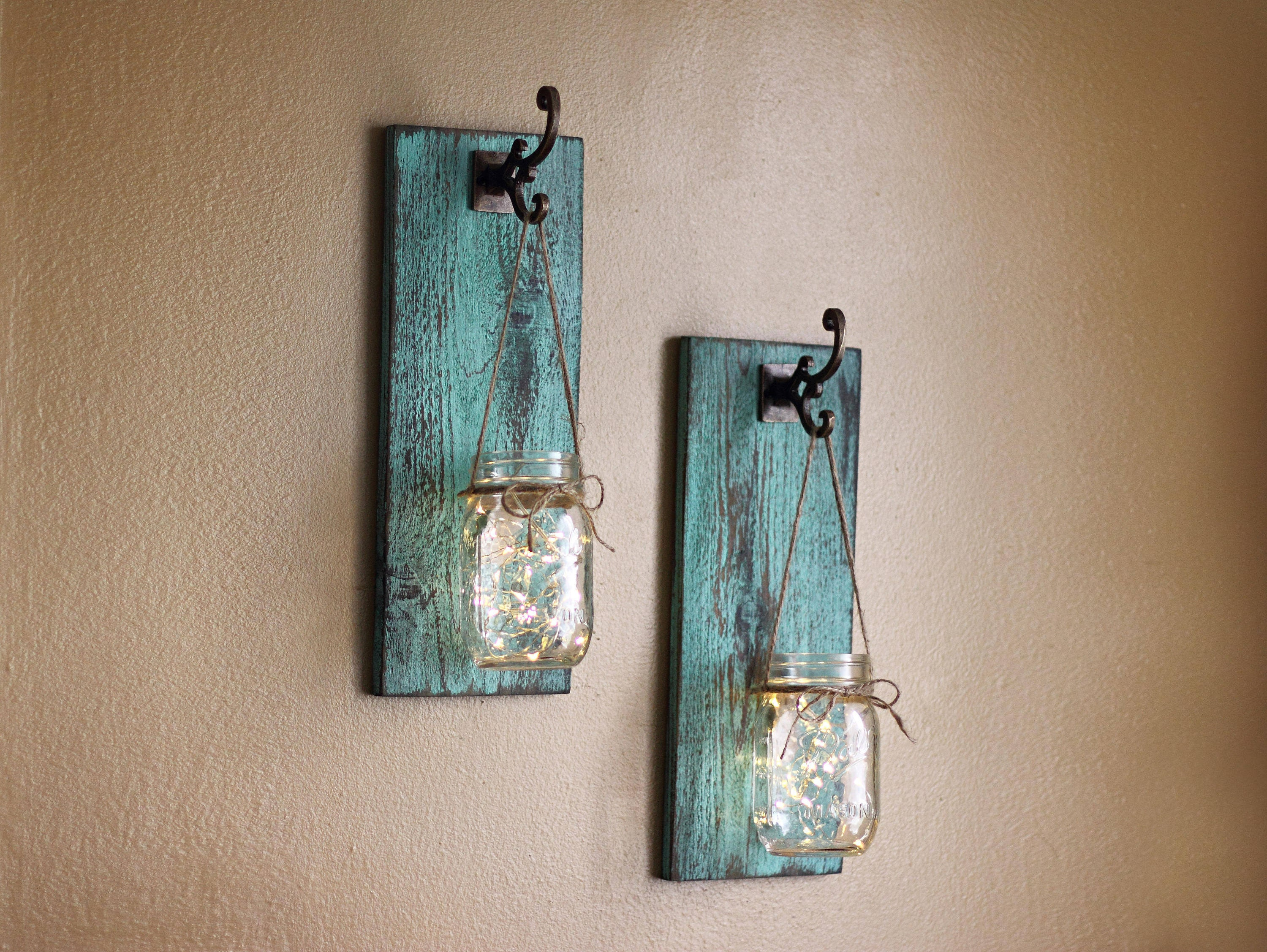Rustic Wall Decor Mason Jar Wall Sconces Distressed Wood