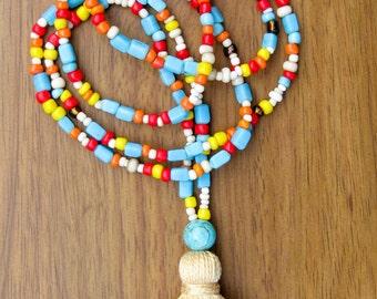 multi color necklace, tassel necklace, howlite necklace, long tassel necklace, gifts for her, boho necklace, calming necklace, yoga necklace