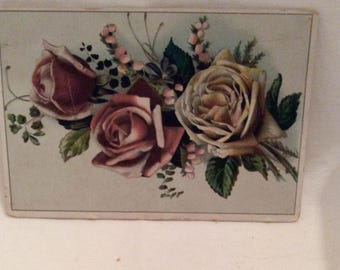 Calling Card, Vintage Calling Card with Old Fashioned Roses, Journaling, Scrapbooking, Jewelry, Crafting and Media Supplies