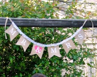Mr & Mrs Burlap Wedding Banner