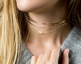Dainty Pearl Choker Necklace • Simple Gold Choker • Beaded Chain Choker or Short Layering ...