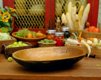Rustic Black Bottom Oval Wood Bowl 1:12 Scale Miniature Dollhouse Kitchen Accessory
