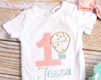 Girls 1st Birthday Hot Air Balloon Outfit - Hot air balloon 1st Birthday Shirt - Girl's 1st 2nd 3rd 4th 5th birthday shirt!
